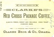 Image of 9188-82 [dup9] - Card, Trade, Coffee, Clark Bros & Co., Clarke's Red Cross Package Coffee